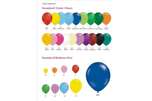 Balloon Color Chart (Contact us for more details)