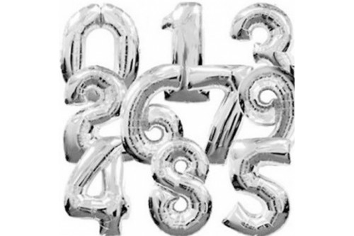 Giant 40 Inch Number Balloons (Silver)