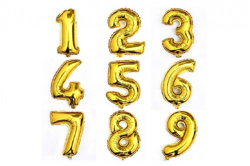 Mini Non-Helium 16 inch Number Balloons (Gold)