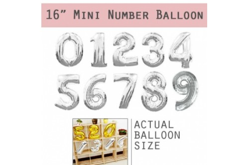 Mini Non-Helium 16 inch Number Balloons (Silver)
