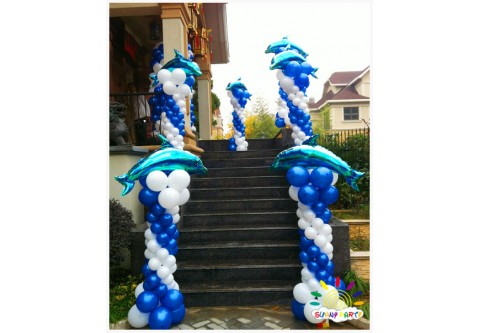 1.7m Balloon Column with Dolphin (One Pair)